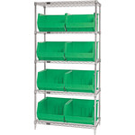 Green Shelves With Bins - 36 in x 18 in x 74 in - SHP-3177
