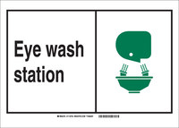 Brady B-302 Polyester Rectangle Eyewash Sign - 7 in Width x 5 in Height - Laminated - 119984