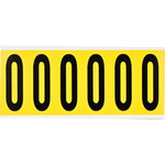 Brady 34 Series 3450-0 Black on Yellow Vinyl Cloth Number Label - Indoor - 1 1/2 in Width - 3 1/2 in Height - 2 15/16 in Character Height - B-498