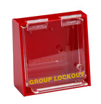 Brady Prinzing Yellow on Red Acrylic Group Lockout Box 45577 - 6 in Width - 6 in Height - 6 Padlock Capacity - 754476-45577