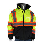 PIP 333-1745X Lime Yellow & Black Large Polyester (Shell) Work Jacket - 1 Pockets - Detachable Hood - Fits 56 in Chest - 616314-23200