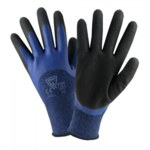 West Chester Protective Gear 713BLDD Blue/Black Large Polyester Work Gloves - EN388 3131 Cut Resistance - Latex Palm & Fingertips Coating - 9.5 in Length - Rough Finish - 713BLDD/L