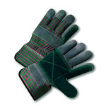 West Chester 450DP Green/Pink Large Split Cowhide Canvas/Leather Work Gloves - 10.25 in Length - 450DP/L