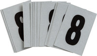 Brady Bradylite 5900-8 Black on Silver Number Label - Outdoor - 1 in Width - 1 1/2 in Height - 1 in Character Height - B-997