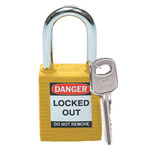 Brady Yellow Nylon Steel 6-pin Keyed & Safety Padlock 99570 - 1 1/2 in Width - 1 3/4 in Height - 1/4 in Shackle Diameter - 1 Key(s) Included - 754476-99570