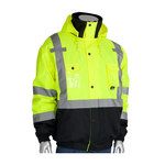 PIP 333-1770-LY Black/Yellow Large Polyester Work Jacket - 3 Pockets - Rollaway Hood - Fits 28 in Chest - 31.5 in Length - 616314-11857
