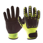 Impacto Back Tracker Black, Green Large Work Glove - Nitrile Palm Coating - 9 in Length - Rough Finish - NS2820040