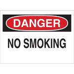Brady B-120 Fiberglass Reinforced Polyester Rectangle White No Smoking Sign - 14 in Width x 10 in Height - 47010