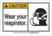 Brady B-302 Polyester Rectangle White Respirator Sign - 10 in Width x 7 in Height - Laminated - 83757