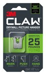 3M CLAW Stainless Steel Drywall Picture Hanger - 1.24 in Length x 1 in Width 25 lb Weight Capacity - 66156