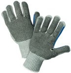 West Chester 712SKBSGT Gray Large Cotton/Polyester General Purpose Gloves - Wing Thumb - PVC Dotted Both Sides Coating - 10 in Length - 712SKBSGT/L