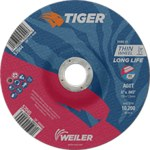 Weiler TIGER Aluminum Oxide Cutting Wheel - Type 27 - Depressed Center Wheel - 60 Grit - 6 in Diameter - 7/8 in Center Hole -.045 in Thick - 57045