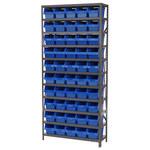 Akro-Mils Shelfmax 6500 lb Adjustable Blue Gray Steel 22 ga Open Adjustable Fixed Shelving System - 50 Bins - 6500 lb Total Capacity - AS1279090 BLUE