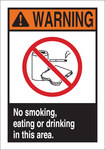Brady B-401 High Impact Polystyrene Rectangle White Food, Beverage & Smoking Sign - 10 in Width x 14 in Height - 45096