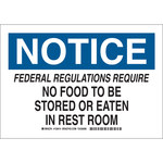 Brady B-555 Aluminum Rectangle White Food Sanitation Sign - 10 in Width x 7 in Height - 128412