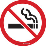 Brady B-819 Vinyl Circle White No Smoking Sign - 17 in Width x 17 in Height - Laminated - 92400