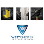 West Chester 32L710 Blue/Yellow Large Acrylic Work Gloves - Latex Palm Only Coating - 11 in Length - Rough Finish - 32L710/L
