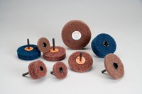 Standard Abrasives Buff and Blend 880616 GP A/O Aluminum Oxide AO Buffing Wheel - Medium Grade - 4 in Diameter - 1/4 in Center Hole - Shaft Attachment - 35841