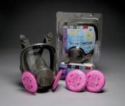 3M 6000 Series 68097 Black Medium Silicone/Thermoplastic Elastomer P100 Full Mask Facepiece Kit - 051131-52792
