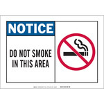 Brady B-120 Fiberglass Reinforced Polyester Rectangle White No Smoking Sign - 10 in Width x 7 in Height - 62561