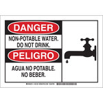 Brady B-555 Aluminum Rectangle White Water Sanitation Sign - 10 in Width x 7 in Height - Language English / Spanish - 125127