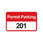 Brady 96251 Black / Red on White Rectangle Vinyl Parking Permit Label - 4 3/4 in Width - 2 3/4 in Height - Print Number(s) = 201 to 300