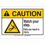 Brady B-120 Fiberglass Rectangle White Fall Prevention Sign - 14 in Width x 10 in Height - Flame-Retardant - 144773
