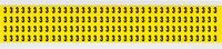 Brady 34 Series 3400-3 Black on Yellow Vinyl Cloth Number Label - Indoor - 1/4 in Width - 3/8 in Height - 1/4 in Character Height - B-498