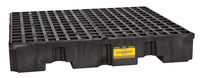 Eagle Black High Density Polyethylene 8000 lb 66 gal Spill Pallet - Supports 4 Drums - 51 1/2 in Width - 51 1/2 in Length - 8 in Height - 048441-00470