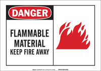 Brady B-555 Aluminum Rectangle White Flammable Material Sign - 10 in Width x 7 in Height - 46454