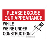 Brady B-555 Aluminum Rectangle White Construction Notice Sign - 14 in Width x 10 in Height - 126861