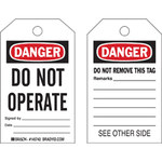 Brady Toughwash 145768 White / Black / Red Plastic Lockout / Tagout Tag - 3 in Width - 5 in Height - B-869