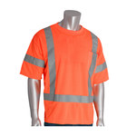 PIP 313-CNTSEOR Orange Polyester High Visibility Shirt - T-Shirt - ANSI Class 3 Rating - Fits 51.2 in Chest - 31.1 in Length - 616314-82641