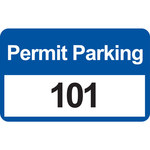 Brady 96246 Black / Blue on White Rectangle Vinyl Parking Permit Label - 4 3/4 in Width - 2 3/4 in Height - Print Number(s) = 101 to 200