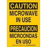 Brady B-555 Aluminum Rectangle Yellow Radiation Hazard Sign - 7 in Width x 10 in Height - Language English / Spanish - 125415