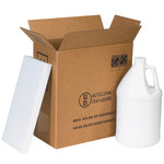 Shipping Supply Kraft 1 Gallon Plastic Jug Shipper Kit - 12 in x 6 in x 12.75 in - SHP-2253
