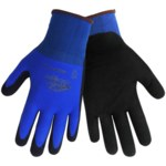 Global Glove 580XFT Blue and Black Large Nylon/Spandex Work Gloves - Polymer Foam Coating - 508XFT