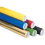 """Mailing Tubes with Caps, 2"""" x 6"""" Red - 50 PER CASE"""