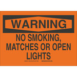 Brady B-302 Polyester Rectangle Orange No Smoking Sign - 10 in Width x 7 in Height - Laminated - 88404