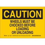 Brady B-563 High Density Polypropylene Rectangle Yellow Wheel Chock Sign - 10 in Width - 116237