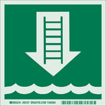 Brady Bradyglo B-347 Polyester / Polystyrene Square IMO Evacuation Sign - 6 in Width x 6 in Height - Glow in the Dark - 59107