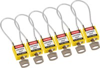 Brady Yellow Nylon Steel 5 Cable Padlock 146129 - 0.16 in Shackle Diameter - 6 Key(s) Included - 754473-54999