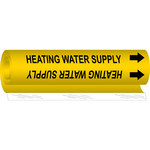 Brady 5703-O Black on Yellow Polyester Water Wrap-Around Pipe Marker - 1/2 in Character Height with Right Arrow - B-689