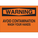 Brady B-401 Polystyrene Rectangle Orange Personal Hygiene Sign - 10 in Width x 7 in Height - 25155