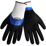 Global Glove Tsunami Grip 590 Black/Blue 9 Polyester Work Gloves - Nitrile/Nitrile Foam Palm & Over Knuckles Coating - 590/9