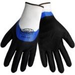 Global Glove Tsunami Grip 590 Black/Blue 9 Polyester Work Gloves - Nitrile/Nitrile Foam Palm & Over Knuckles Coating - 590/9