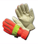PIP 125-468 Orange/White/Yellow Large Grain Pigskin Leather/Nylon Driver's Gloves - Keystone Thumb - 9.9 in Length - 125-468/L
