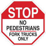 Brady B-555 Aluminum Octagon White Truck & Forklift Warehouse Traffic Sign - 18 in Width x 18 in Height - 124518
