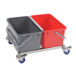 Contec 6.5 gal Gray, Red Sieve Bucket Cart System - 2772-KIT