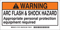 Brady 101517 Black / Orange on White Rectangle Polyester Arc Flash Label - 4 in Width - 2 in Height - B-302